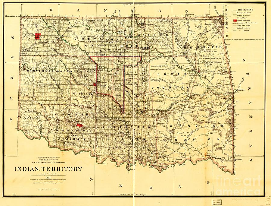 Reproduction Drawing - Indian Territory by Pg Reproductions