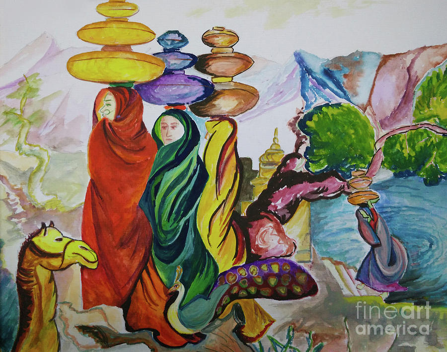 Indian Village Girls And Bride Painting By Rehan Khan-6463