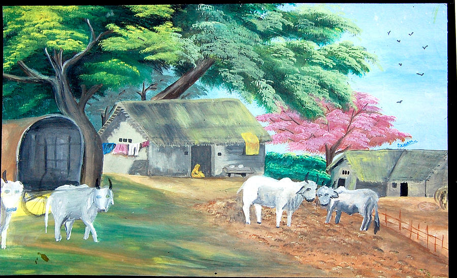 Landscape Painting Painting - Indian Village by Sonam Shine