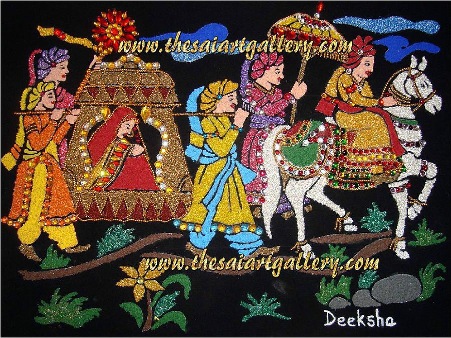 Indian wedding procession palanquin bearers mixed media by indian paintings mixed media indian wedding procession palanquin bearers by deeksha arya junglespirit Images