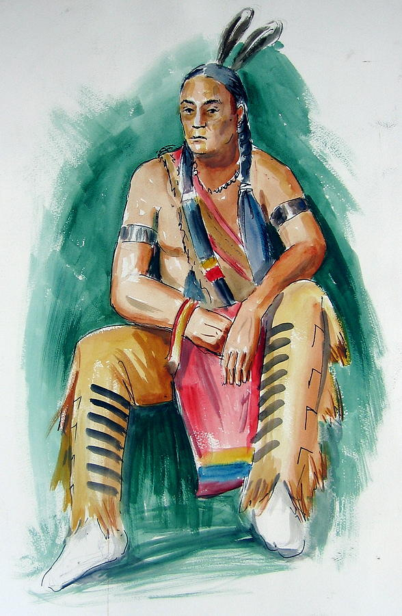 Indians Painting - Indian With Red Apron by Murray Keshner