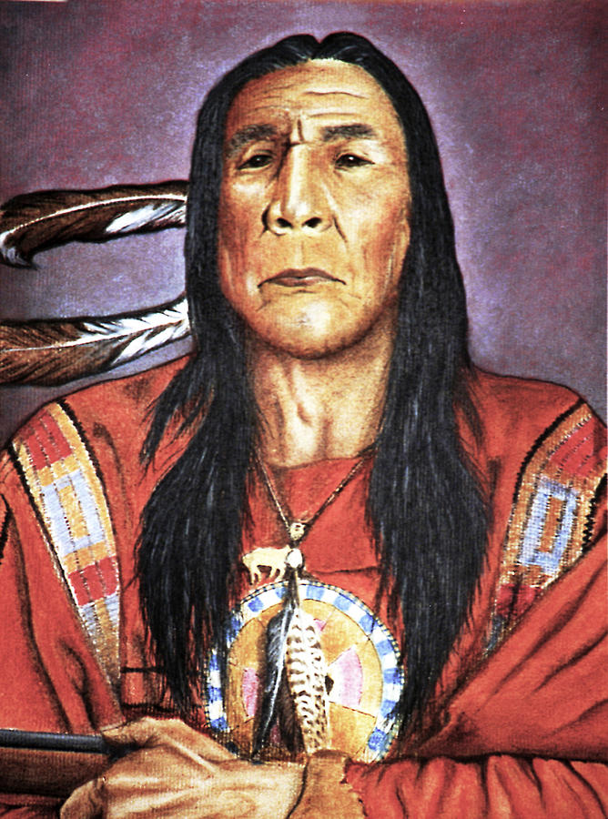 Indian Drawing - Indian With Rifle by Martin Howard