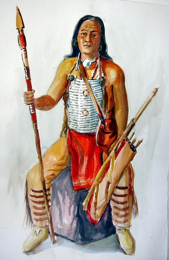 Indians Painting - Indian With Spear And Arrows by Murray Keshner