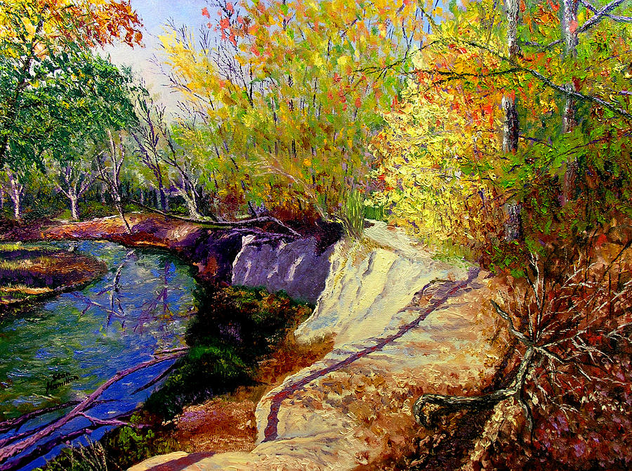 Fall Painting - Indiana Creek Bank by Stan Hamilton