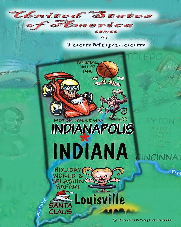 Indiana Fun Map Digital Art