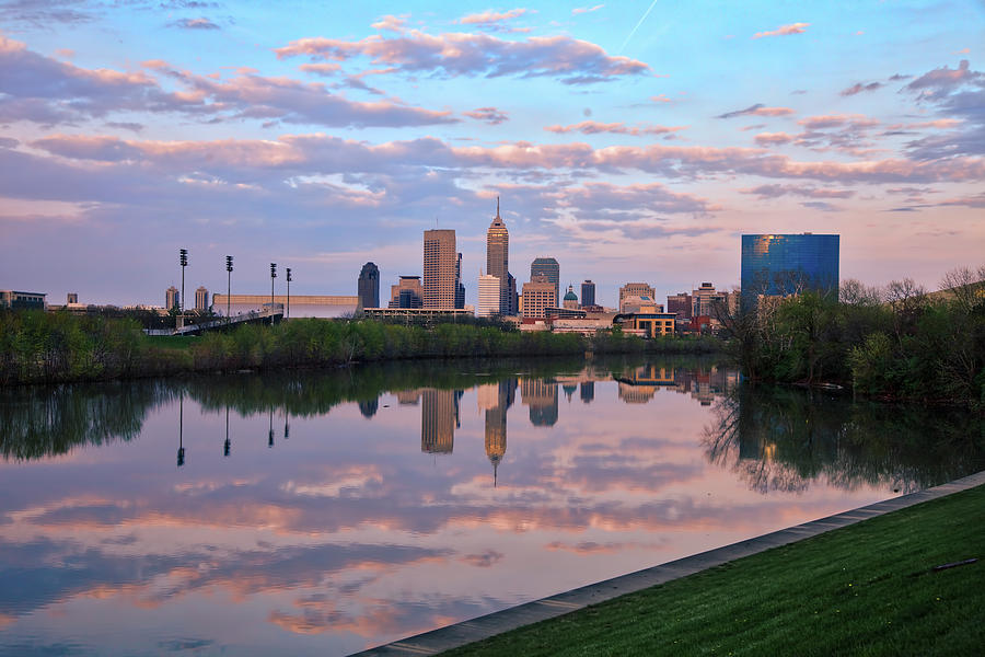 Indianapolis Indiana Skyline On The White River At Sunset