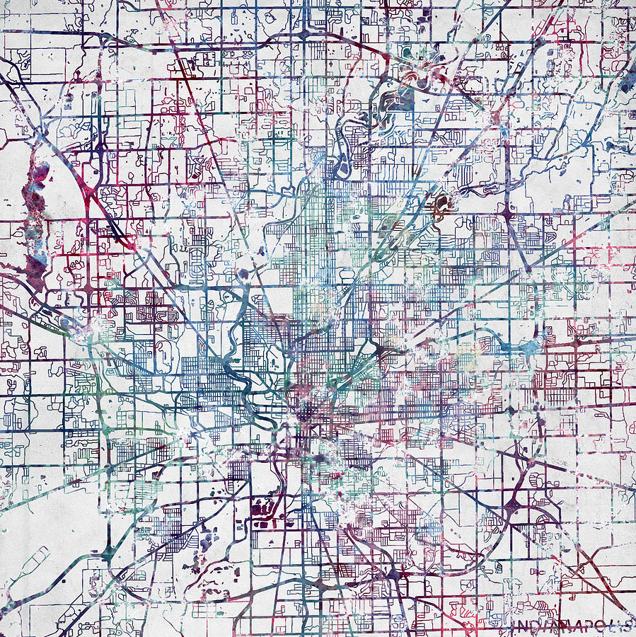 Indianapolis Map Indiana Painting by Map Map Maps on