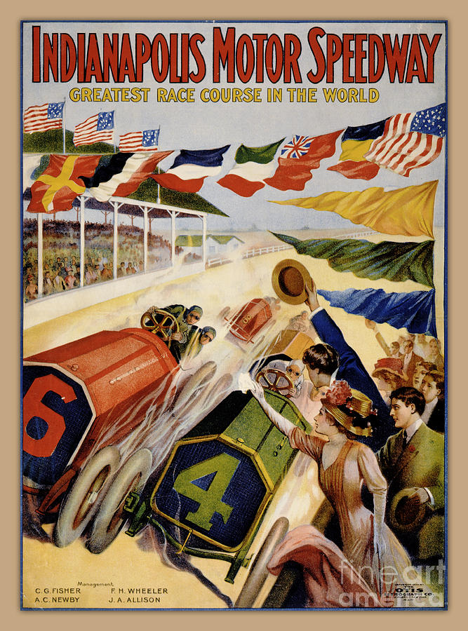 Indianapolis Painting - Indianapolis Motor Speedway Vintage Poster 1909 by Vintage Treasure