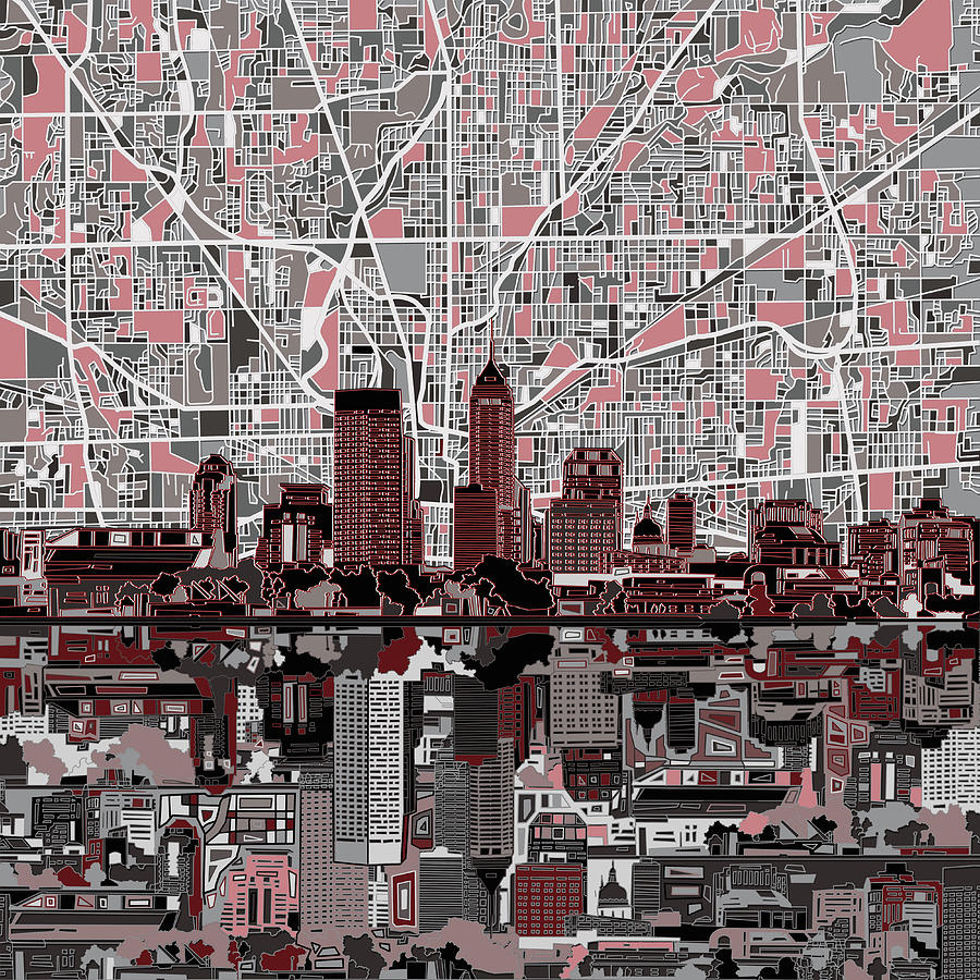 Indianapolis Painting - Indianapolis Skyline Abstract 1 by Bekim M