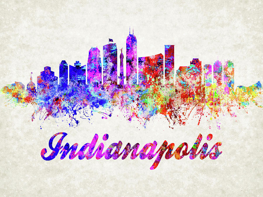 Indianapolis Skyline Abstract by Dave Lee