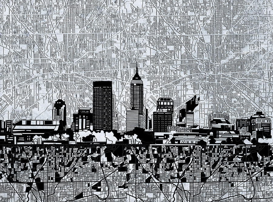 Indianapolis skyline abstract 9 painting by bekim art for Indianapolis painting company