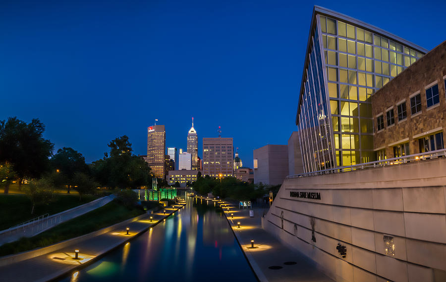 Art Photograph - Indianapolis Skyline From The Canal At Night by Ron Pate