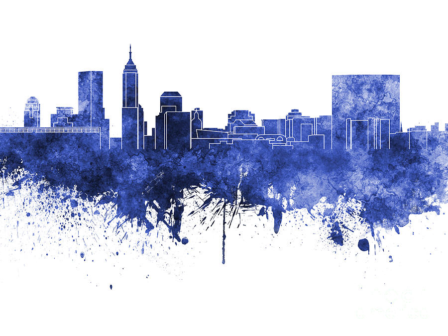 Indianapolis skyline in blue watercolor on white for Indianapolis painting company