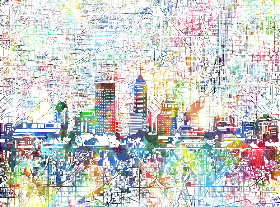 Indianapolis skyline watercolor 7 painting by bekim art for Indianapolis painting company