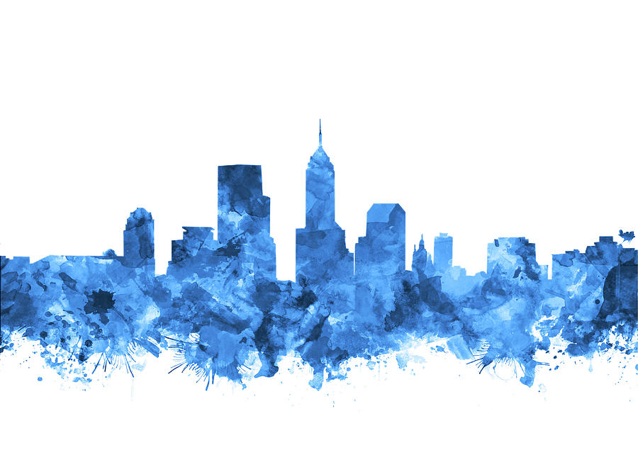 Indianapolis Skyline Watercolor Blue Painting By Bekim Art