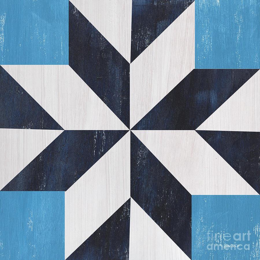 Quilt Painting - Indigo And Blue Quilt by Debbie DeWitt
