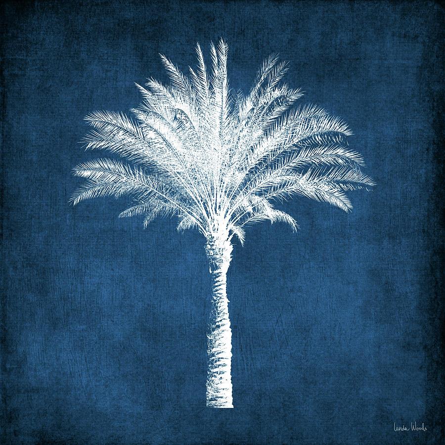 Palm Tree Mixed Media - Indigo and White Palm Tree- Art by Linda Woods by Linda Woods