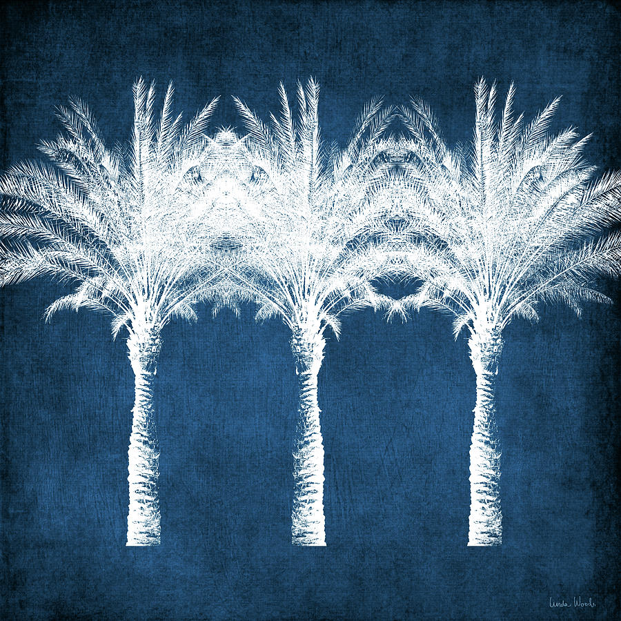 Palm Tree Mixed Media - Indigo And White Palm Trees- Art By Linda Woods by Linda Woods