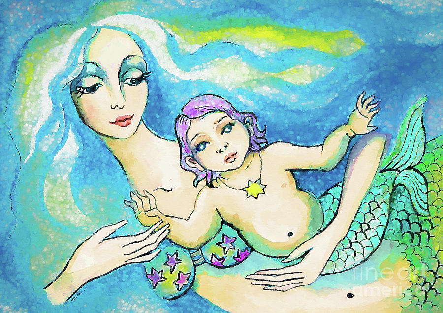 Mermaid Mother Painting - Indigo Child Mermaid by Eva Campbell