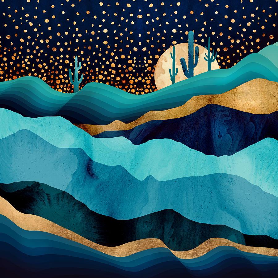 Indigo Digital Art - Indigo Desert Night by Spacefrog Designs