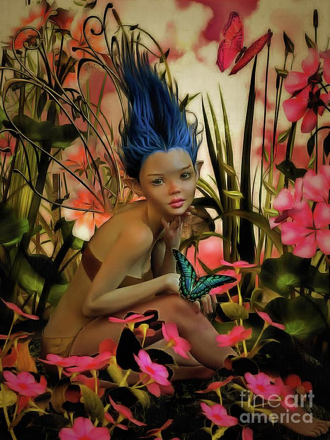 Fairy Painting - Indigo Featherdust by Putterhug Studio