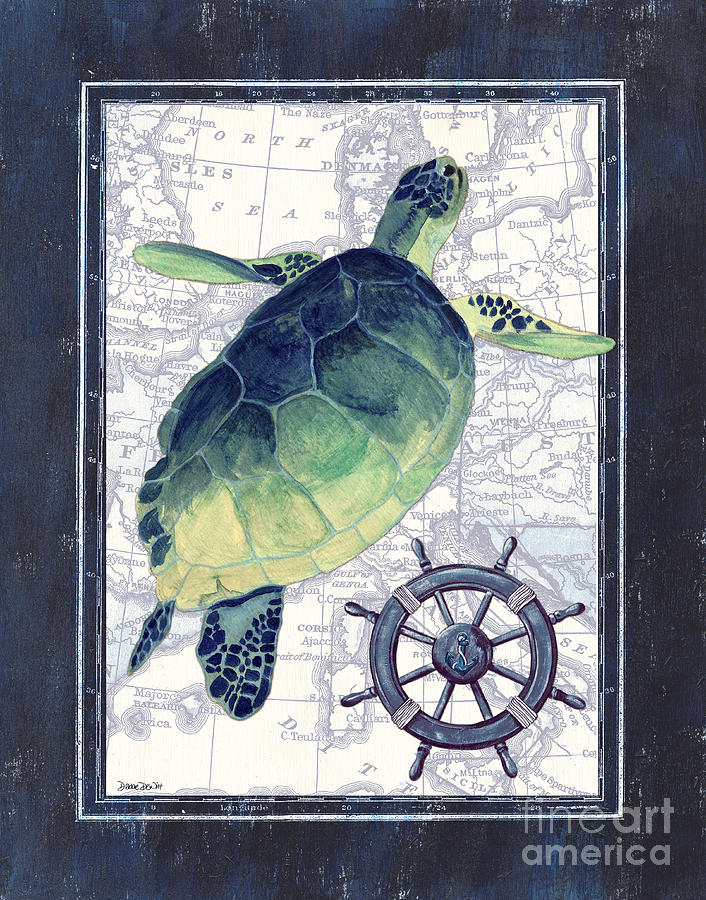 Turtle Painting - Indigo Maritime 1 by Debbie DeWitt