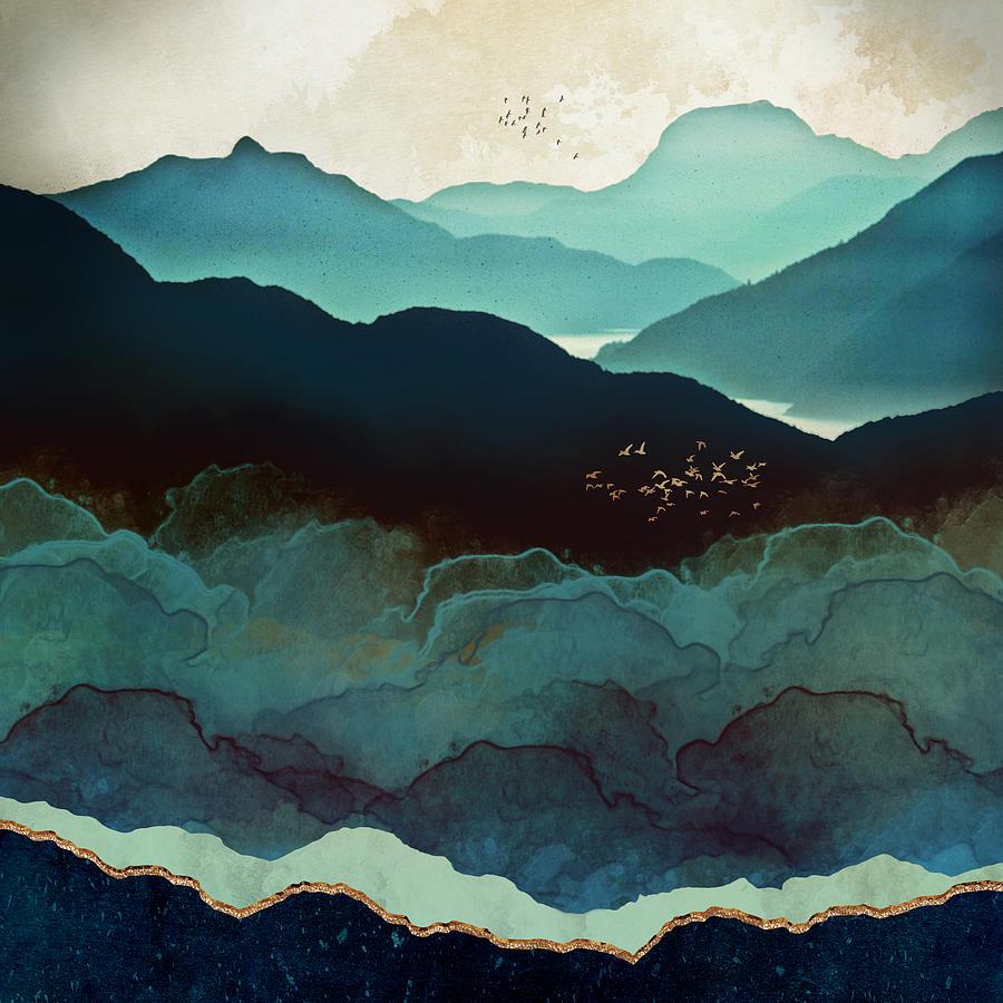 Indigo Digital Art - Indigo Mountains by Spacefrog Designs