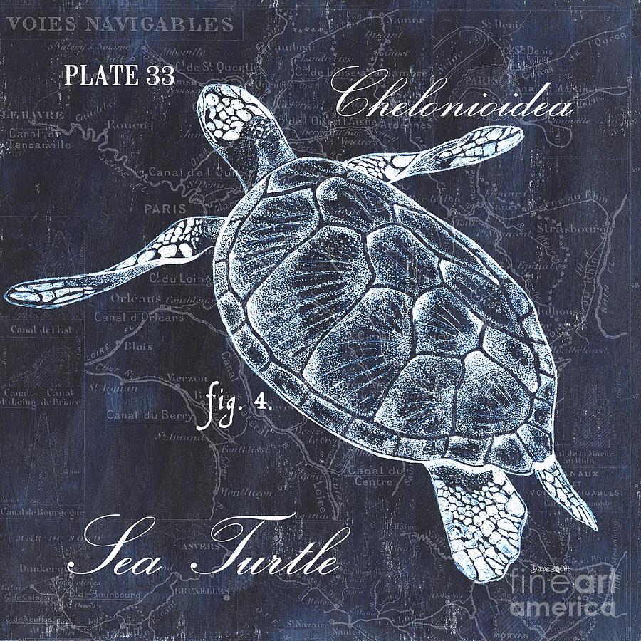 Turtle Painting - Indigo Verde Mar 2 by Debbie DeWitt