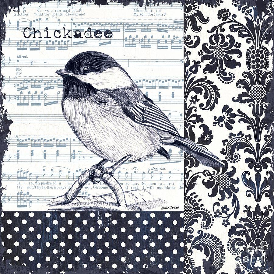 Bird Painting - Indigo Vintage Songbird 2 by Debbie DeWitt