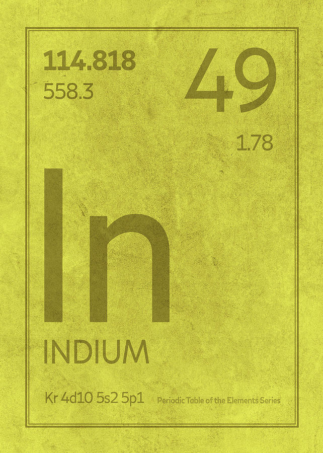 Indium Element Symbol Periodic Table Series 049 Mixed Media By