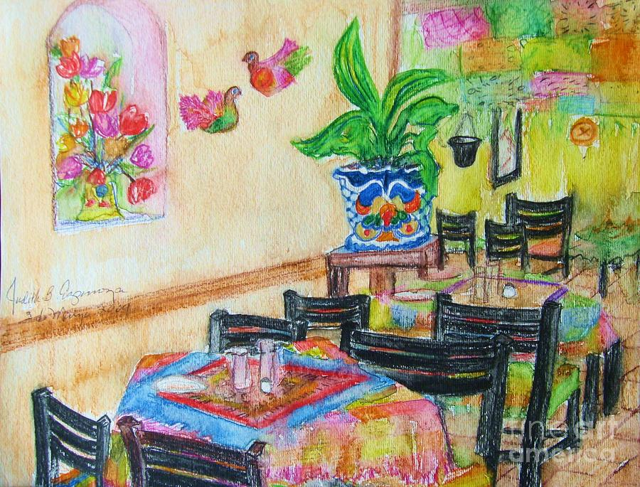Watercolor Painting - Indoor Cafe - Gifted by Judith Espinoza