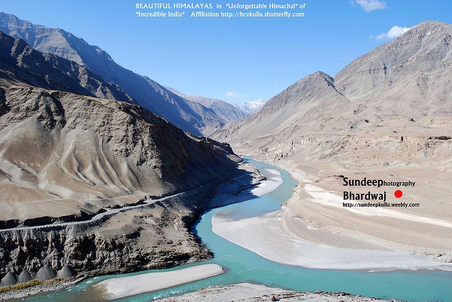 Indus River Sangam Meeting Point  Himalayas  Incredible India Painting - Indus River Sangam Or Meeting Point In Himalayas Of Incredible India by Sundeep Bhardwaj Kullu sundeepkulluDOTcom