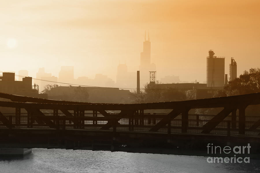 Chicago Photograph - Industrial Foggy Chicago Skyline by Bruno Passigatti