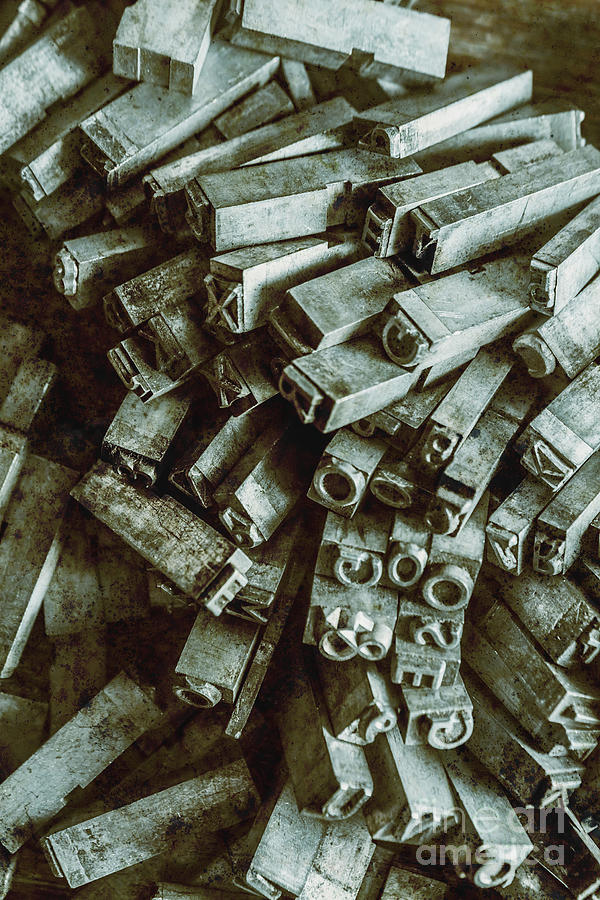 Old Photograph - Industrial Letterpress Typeset  by Jorgo Photography - Wall Art Gallery