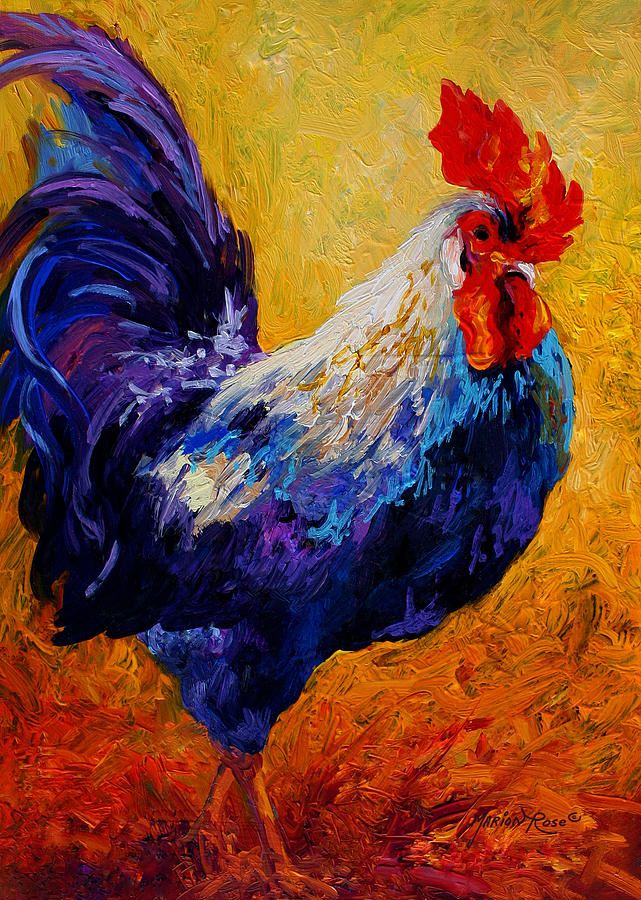 Rooster Painting - Indy - Rooster by Marion Rose