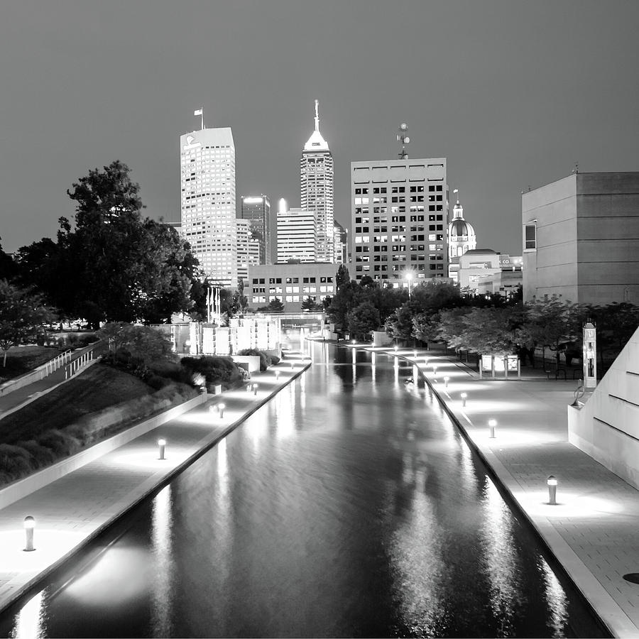 America photograph indy city skyline indianapolis indiana black white 1x1 by gregory ballos