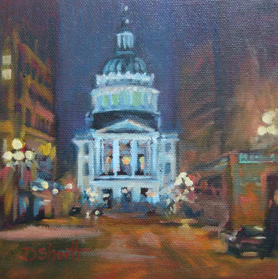 Indianapolis Painting - Indy Government Night by Donna Shortt