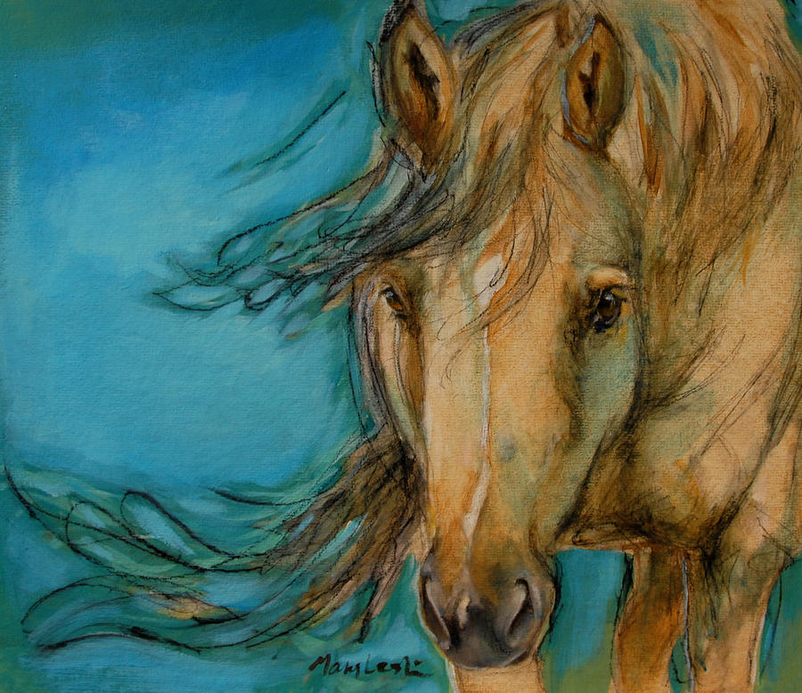 Horse Portraits Painting - Indy by Mary Leslie