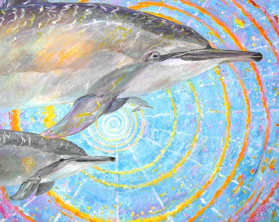 Dolphins Painting - Infinite Dolphin Universe by Tamara Tavernier