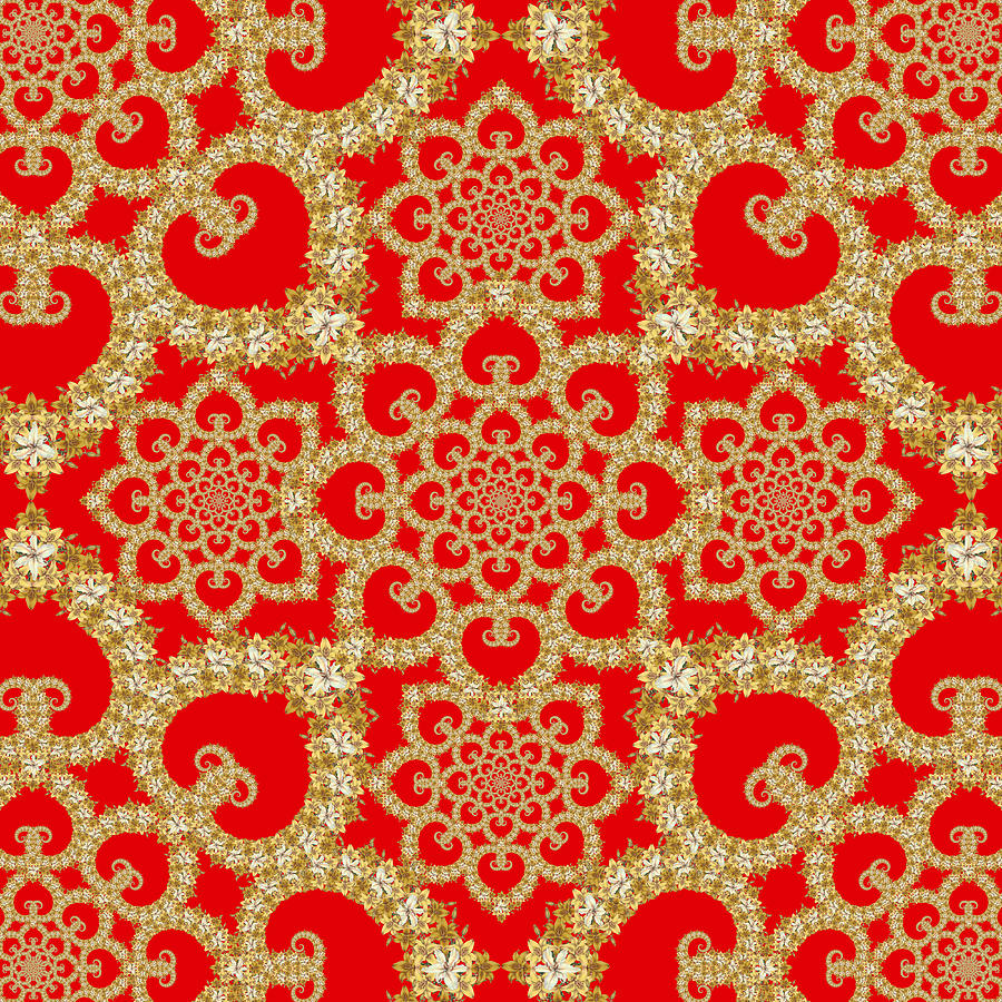 Infinite Lily In Red Tapestry - Textile