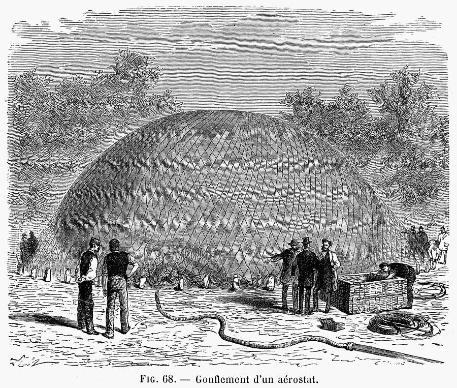 19th Century Photograph - Inflation Of A Balloon by Granger
