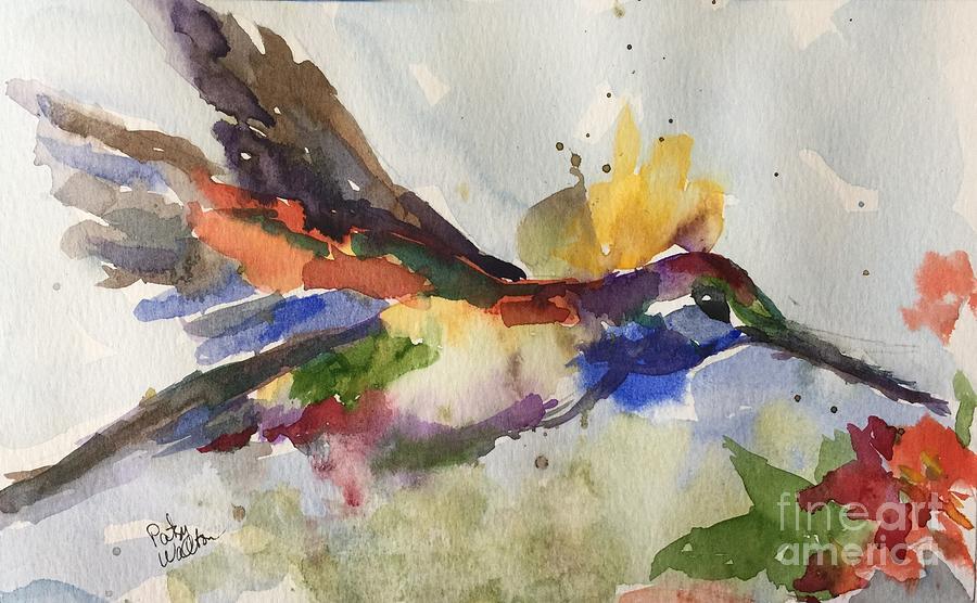 Hummingbird Painting - Inflight by Patsy Walton