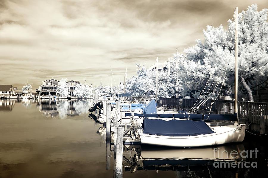 Infrared Boats At Lbi Photograph - Infrared Boats At Lbi Blue by John Rizzuto