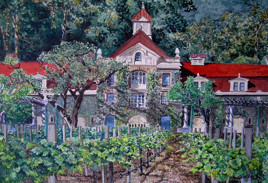 Cityscape Painting - Inglenook Winery Napa Valley  by Gail Chandler