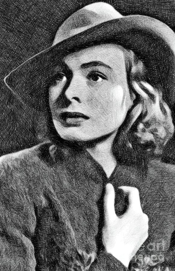 Ingrid Bergman, Vintage Actress By Js Drawing