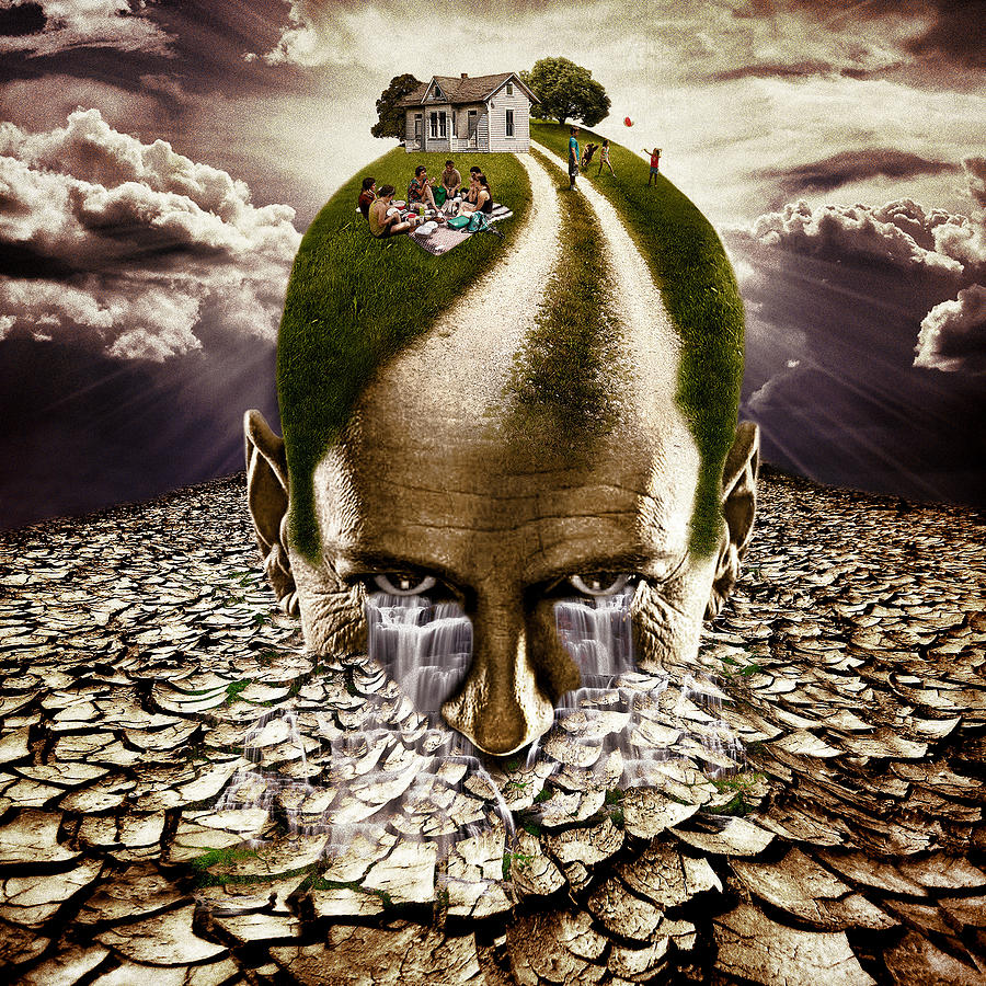 Head Digital Art - Inhabited Head by Marian Voicu