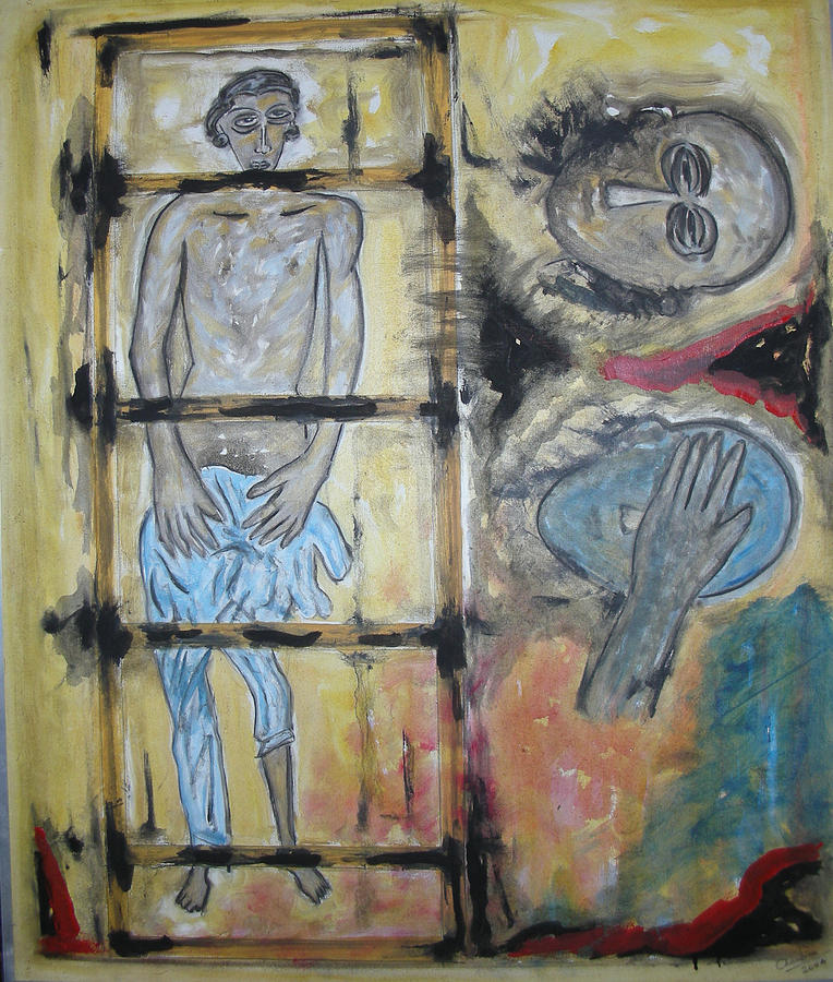Man Painting - Inhumanity by Narayanan Ramachandran