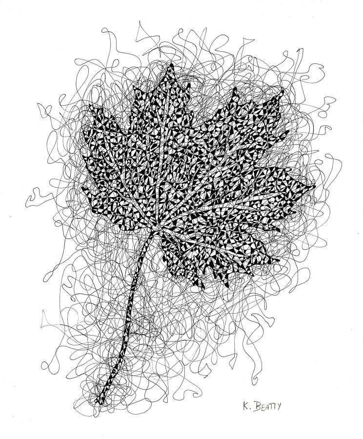 Pen And Ink Drawing - Ink Drawing of Maple Leaf by Karla Beatty