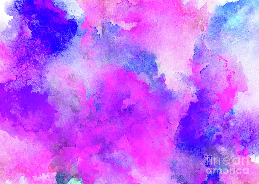 Ink Style Of Purple Watercolour Texture Painting By Liffy En