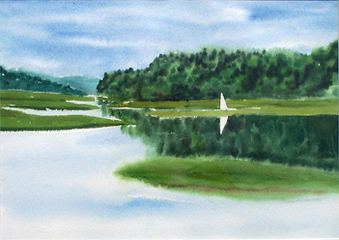 Landscape Painting - Inland Harbor by Anne Trotter Hodge